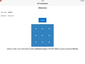 Nástroj i-CT frameworku: přihlašovací obrazovka.